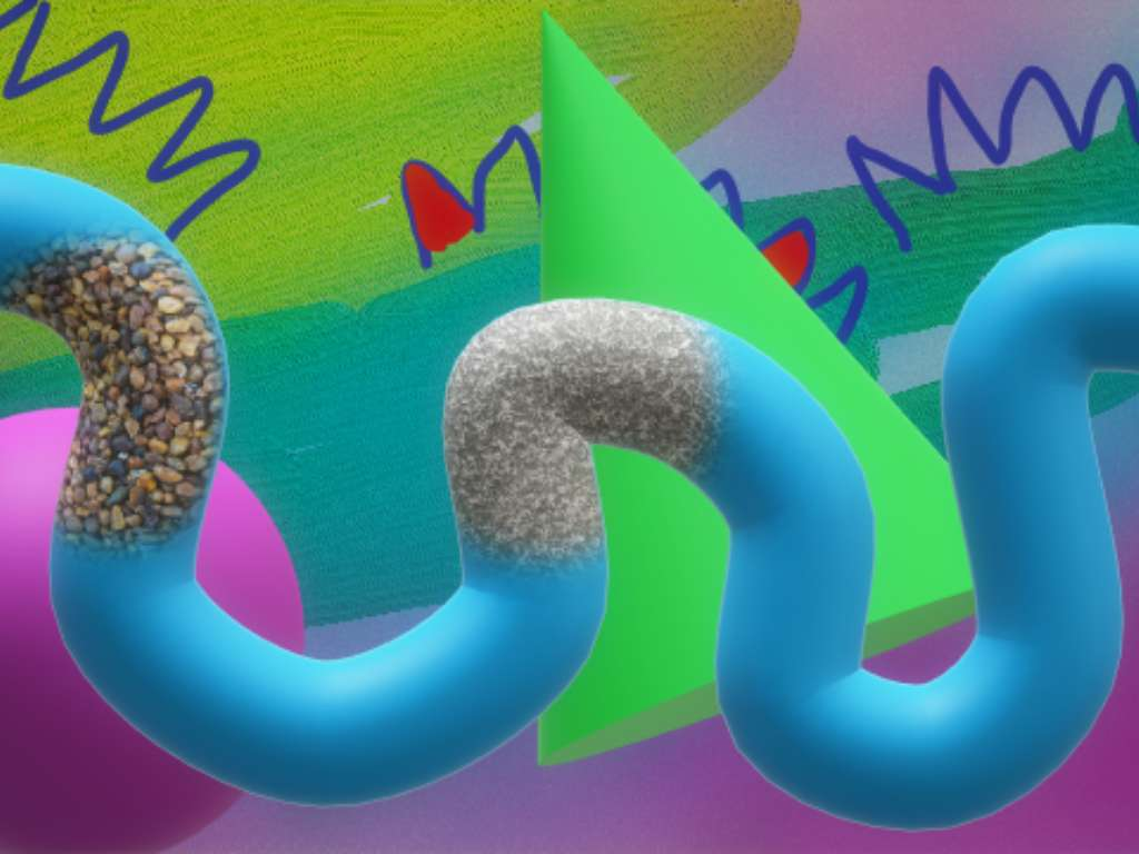 animated blue dragen in front of a abstract, colorful background