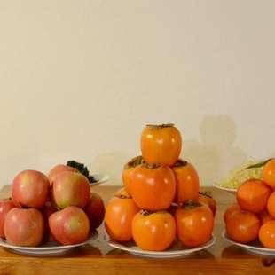 kakis, oranges and apples