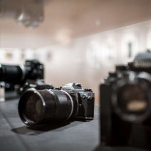 Vitriene with historical cameras of the brand Nikon