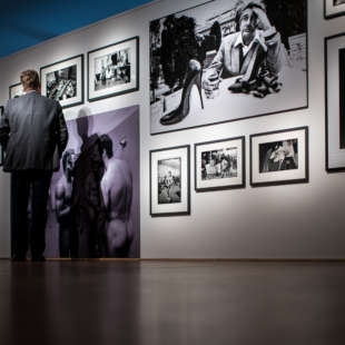 Man in the exhibition 100 years Nikon in front of a wall with several framed photographs