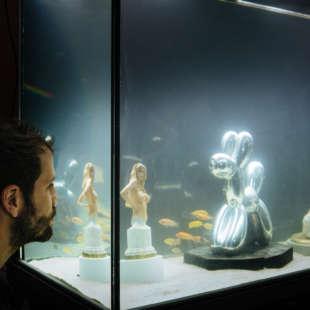 Ein Mann drückt seine Nase an die Glasscheibe eines Aquariums in dem sich kleine Skulpturen und Fische im Wasser befinden