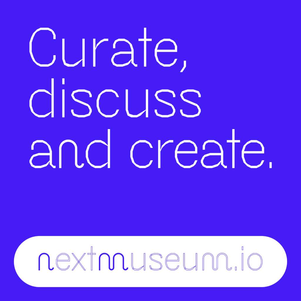 info graphic with the text: curate, discuss and create