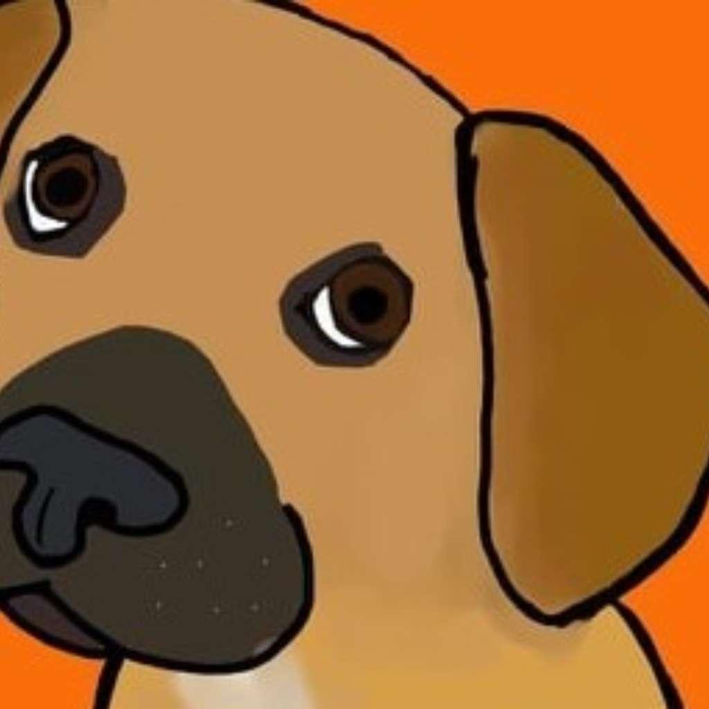 Virutell gezeichneter, brauner Hund vor orangenem Hintergrund
